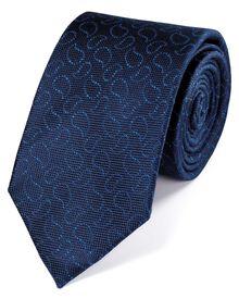 Klassische Seidenkrawatte in marineblau und königsblau mit Oxford-Paisleymuster