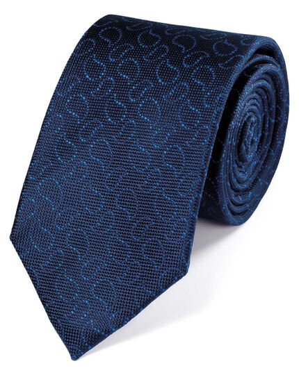 Navy and royal silk Oxford paisley classic tie