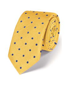 Gold and blue silk classic spot slim tie