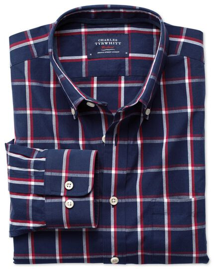 Classic fit navy and red check washed shirt