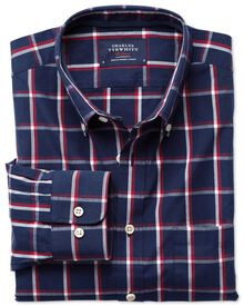 Slim fit washed navy and red check shirt