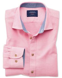 Classic fit pink washed textured shirt
