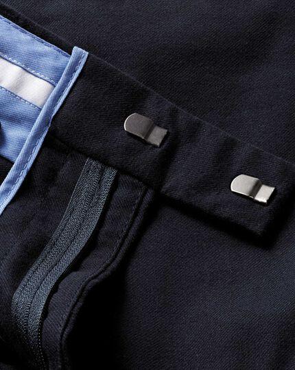 Slim Fit Baumwoll-Flanellhose in Dunkel Marineblau