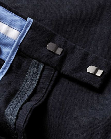 Dark navy classic fit cotton flannel trouser