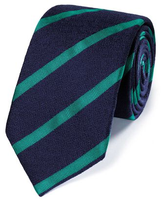 Navy and green wool mix wool stripe classic tie