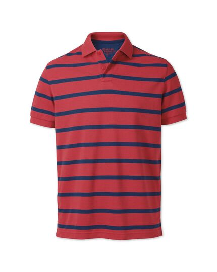 Classic fit salmon and navy striped pique polo