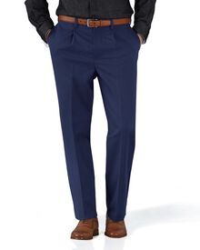 Marine blue classic fit single pleat non-iron chinos