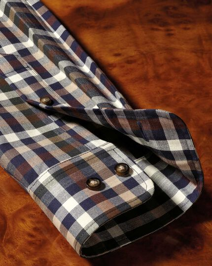 Slim fit button-down non-iron twill brown multi check shirt