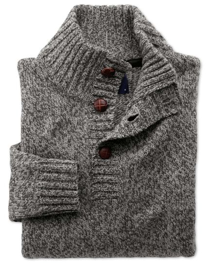 Grey mouline button neck sweater