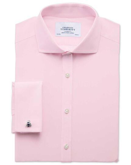 Extra slim fit spread collar non-iron poplin light pink shirt
