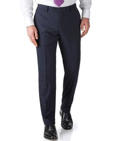 Navy slim fit flannel business suit trousers