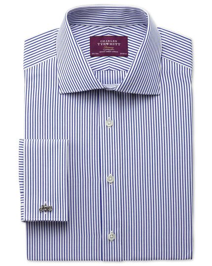 Extra slim fit semi-spread collar luxury poplin stripe blue shirt