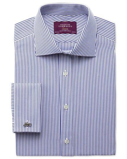 Extra slim fit semi-cutaway collar luxury poplin stripe blue shirt