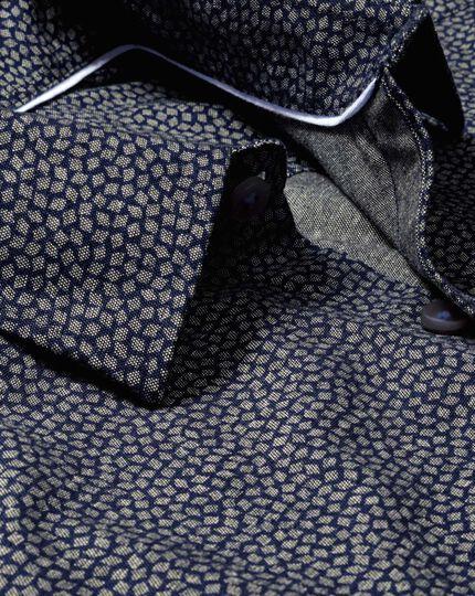 Slim fit navy diamond print shirt