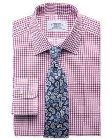 Classic fit twill grid check fuchsia shirt