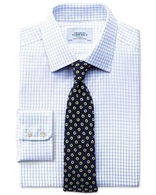 Classic fit non-iron windowpane check blue shirt