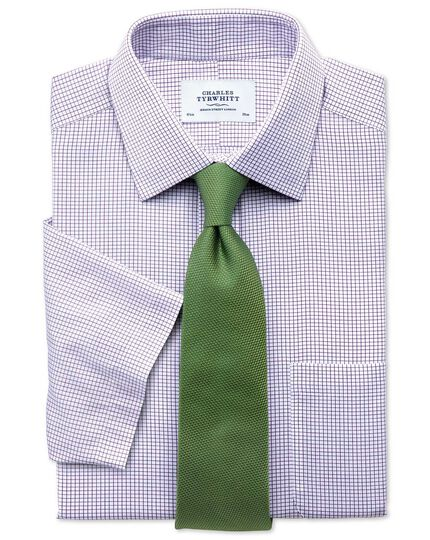 Classic fit non-iron grid check purple short sleeve shirt