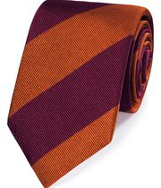 Burgundy silk super reppe stripe English luxury tie