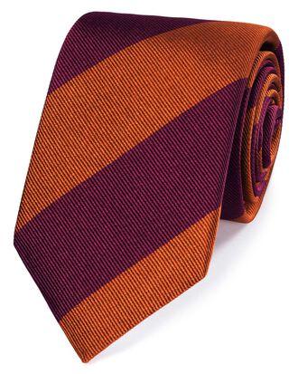 Burgundy silk super reppe stripe English luxury tie