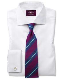 Slim fit semi-spread collar luxury white shirt