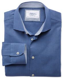 Slim fit semi-spread collar business casual textured royal blue shirt