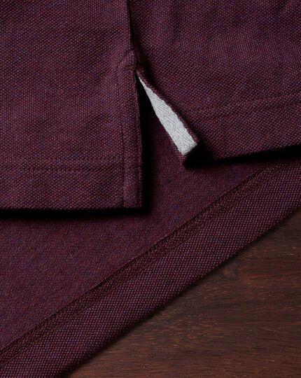 Dark red pique long sleeve polo