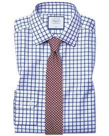 Extra slim fit non-iron twill grid check royal blue shirt