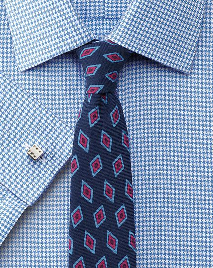 Navy luxury wool diamond print slim tie