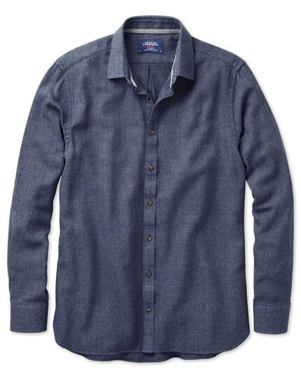 Slim fit navy mouline shirt