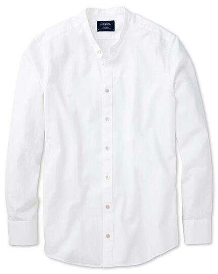 slim fit collarless white shirt charles tyrwhitt
