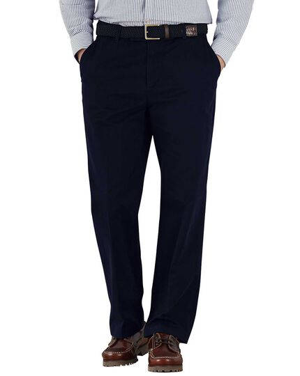 Navy classic fit flat front chinos