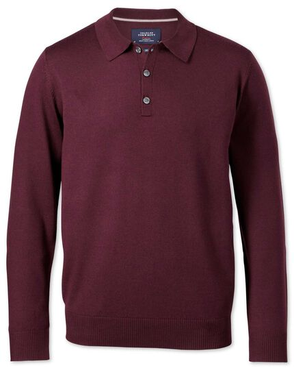 Wine merino wool polo neck jumper