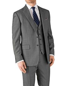 Grey classic fit birdseye travel suit jacket