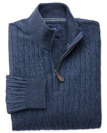 Indigo cotton cashmere cable zip neck jumper