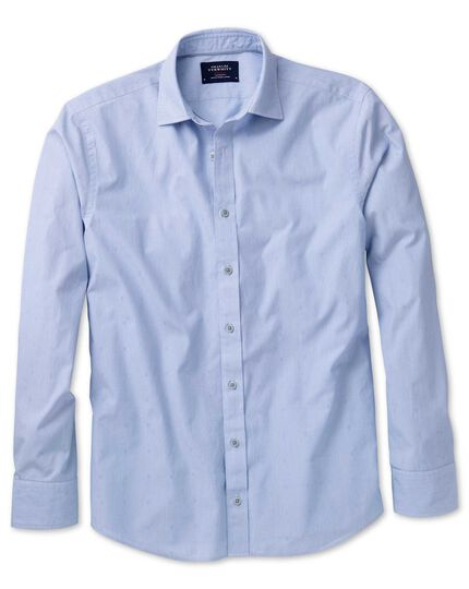 Extra slim fit sky blue poplin dobby shirt