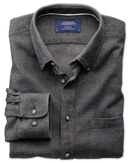 Classic fit charcoal Donegal shirt