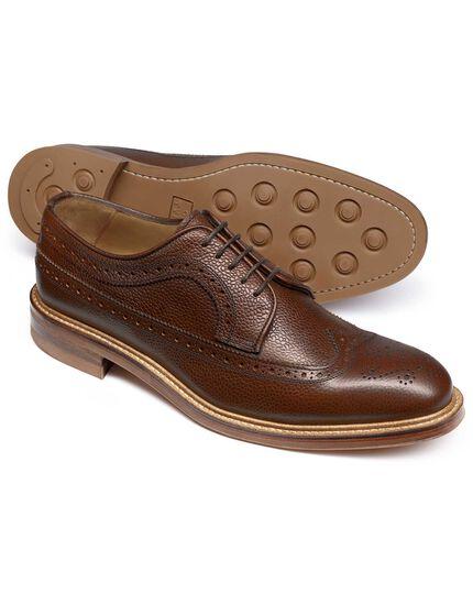 Brown Lanescot brogue wing tip Derby shoe