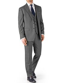 Grey classic fit birdseye travel suit