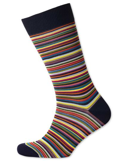 Navy multi fine stripe socks