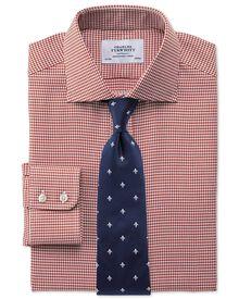 Slim fit semi-spread collar melange puppytooth copper shirt