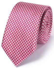 Slim dark pink silk classic puppytooth tie