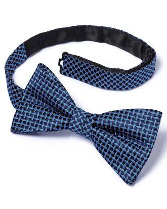 Blue silk diamond lattice classic ready-tied bow tie