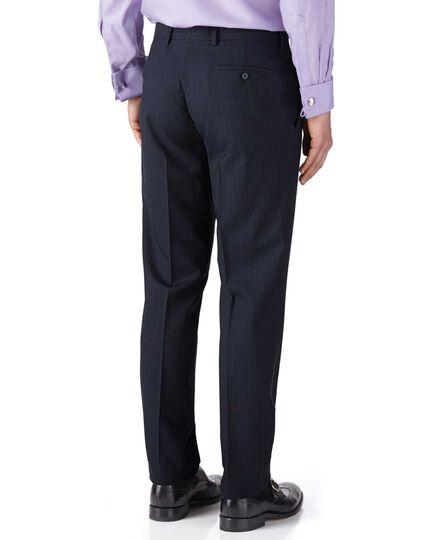 Dark blue stripe slim fit flannel business suit trousers