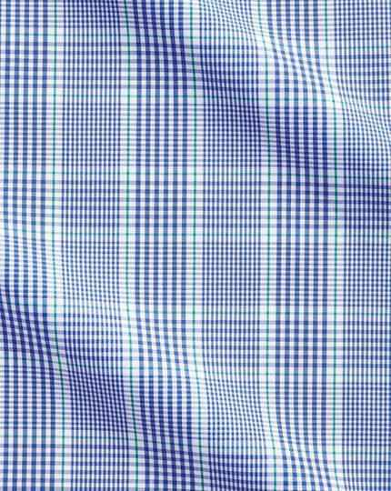 Extra slim fit Prince of Wales blue and green shirt