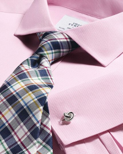 Slim fit spread collar non iron puppytooth light pink shirt