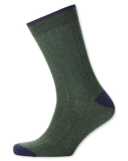 Olive ribbed socks