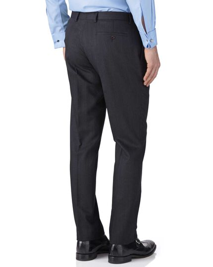 Charcoal slim fit herringbone business suit trousers