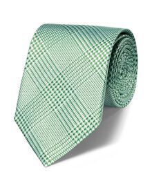 Green silk classic Prince of Wales tie