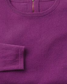 Purple merino cashmere zip back jumper