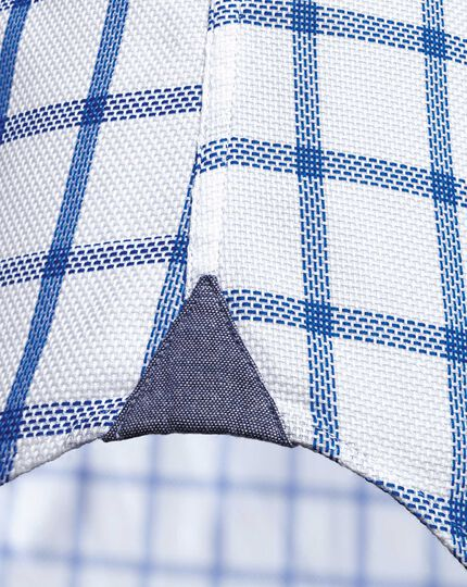 Slim fit semi-spread collar non-iron business casual white and blue check shirt